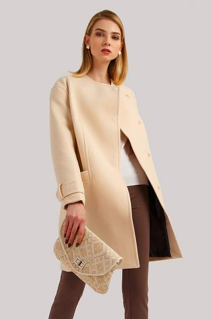 Пальто женское Finn Flare B19-11089 бежевое XXL