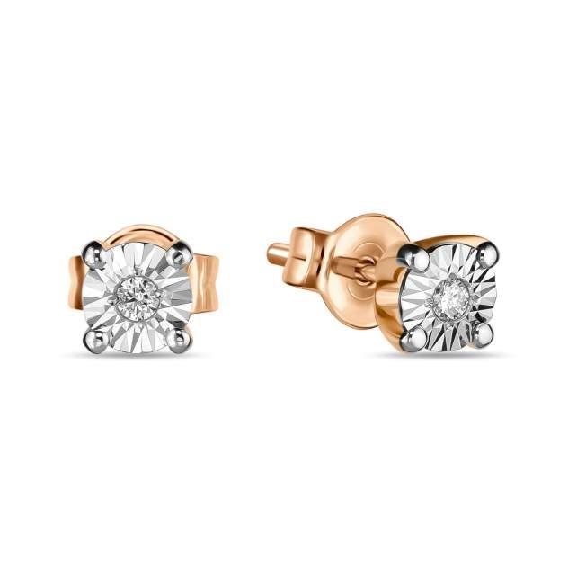 Серьги женские из золота Московский ювелирный завод E01-PPL-35197-45, бриллиант
