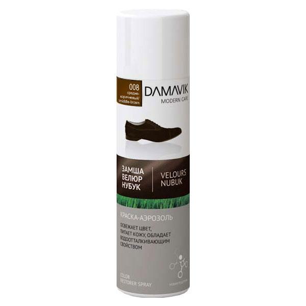 Краска-аэрозоль DAMAVIK для замши нубука велюра средне-коричневая