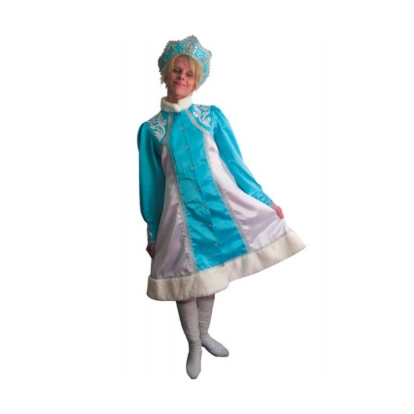 Карнавальный костюм Snowmen Снегурочка, цв. голубой; белый р.152