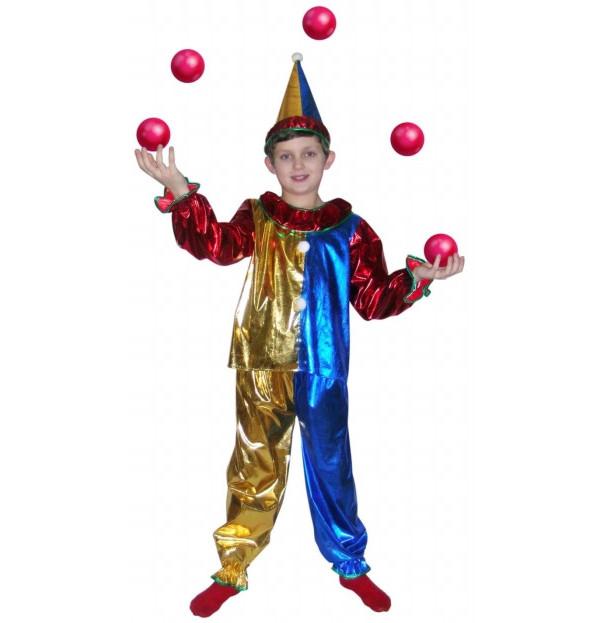 Карнавальный костюм Snowmen Клоун, цв. красный; синий; золотистый р.134