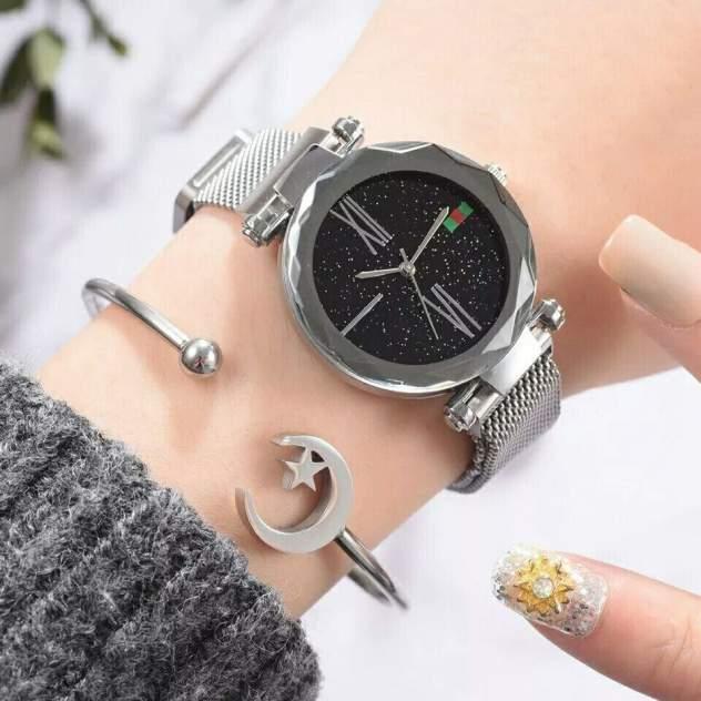 Часы женские Starry Sky с магнитным ремешком серебряные