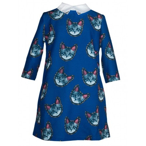 Платье Bon&Bon Кошки голубое, р. 134