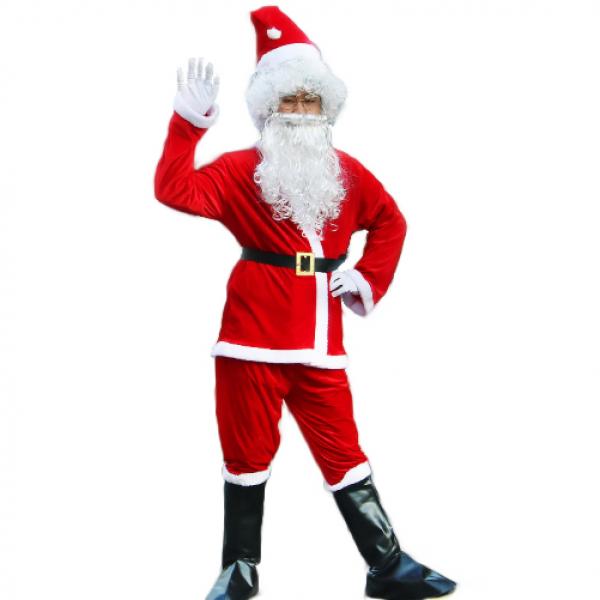 Костюм Деда Мороза Happy 6 предметов плюшевый, размер 52-54