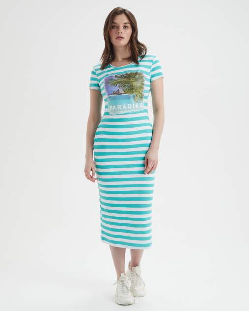 Платье-футболка женское BARMARISKA Paradise голубое 40