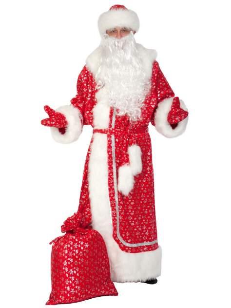 Карнавальный костюм Карнавалофф - Дед Мороз, плюш, красное серебро, взрослый, XL (56-58)