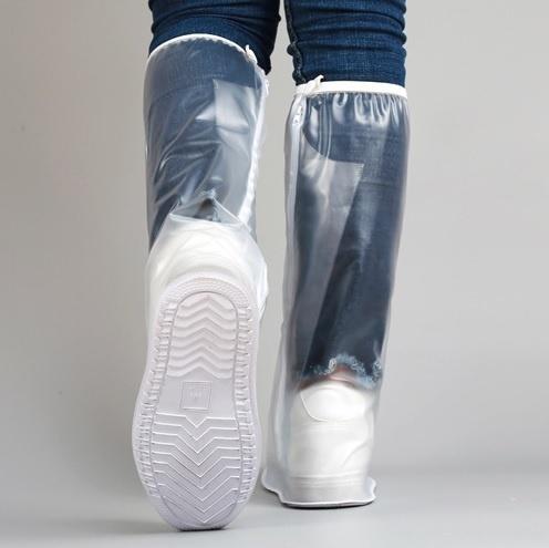 Высокие бахилы-чехлы для обуви от дождя прозрачные XXXL