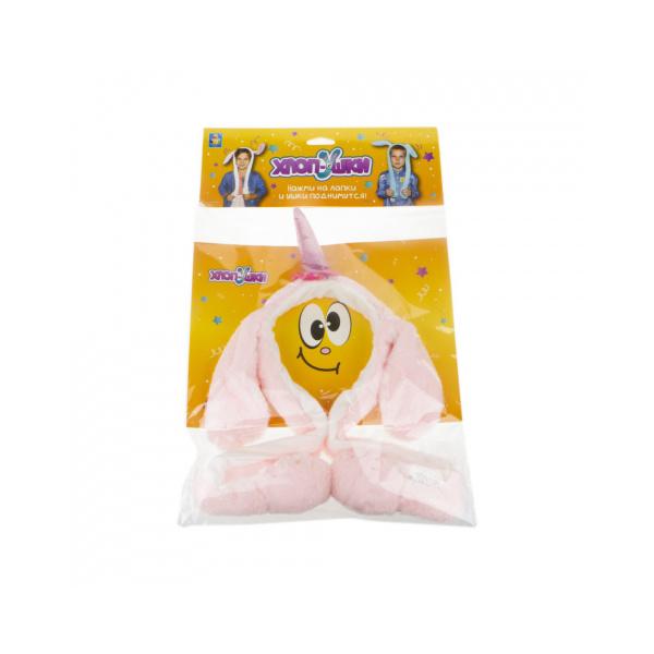 Оободок детский 1TOY Хлоп-Ушки Единорог розовый, с поднимающимися ушками
