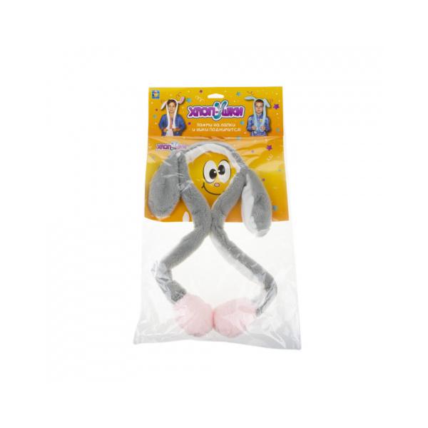 Ободок детский 1TOY Хлоп-Ушки Зайка, с поднимающимися ушками