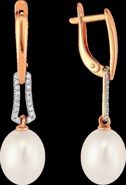 Серьги женские из золота Примаэксклюзив 290-1-825Р, жемчуг/фианит
