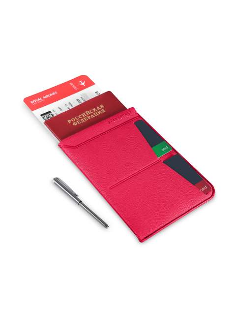 Универсальная обложка для паспорта с шариковой ручкой Flexpocket KOP-04UP розовая