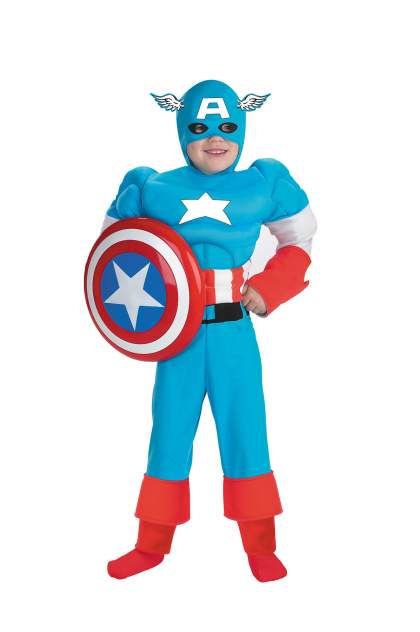 Костюм Disguise Капитан Америка С Мускулами Люкс Детский M (7-8 лет)