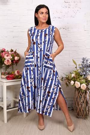 Платье женское Миллена Шарм 27568 синее 60 RU