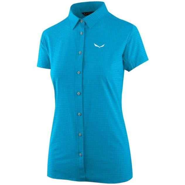 Рубашка Salewa Puez Minicheck Dry W S/S Srt, hawaiian blue, 40 EU