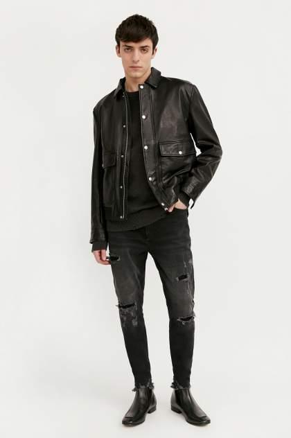 Мужская кожаная куртка Finn Flare B21-21801, черный