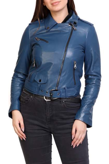 Кожаная куртка женская EXPO FUR B.2 голубая 38