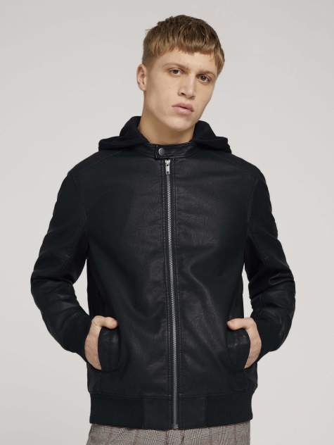 Мужская кожаная куртка TOM TAILOR 1024399, черный