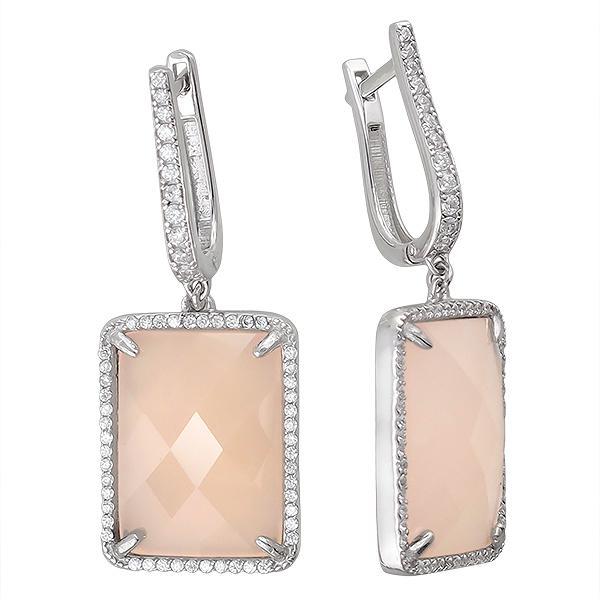 Серьги женские из серебра Эстет 01С4511065-4, агат/фианит