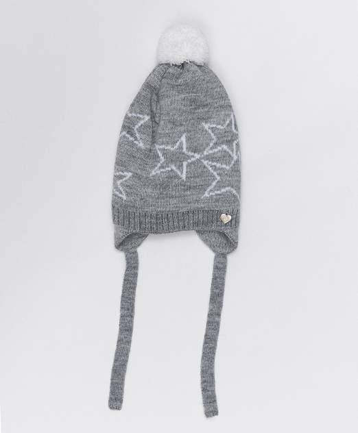 Серая шапка с завязками Button Blue, размер 52, 220BBGMX73021901