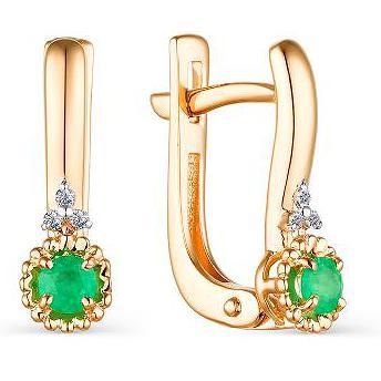Серьги женские из золота АЛЬКОР 23616-101, изумруд/бриллиант