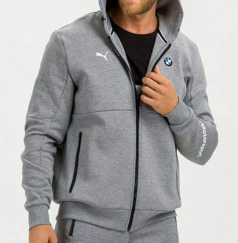 Толстовка мужская PUMA BMW MMS Hooded Sweat Jacket R, серый