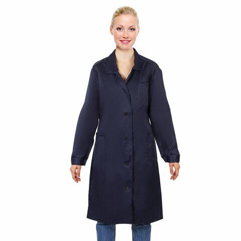 Халат медицинский женский NoBrand Классический синий 48-50 RU