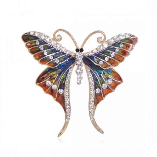 Брошь женская Blucome Бабочка с длинными усиками синяя/оранжевая