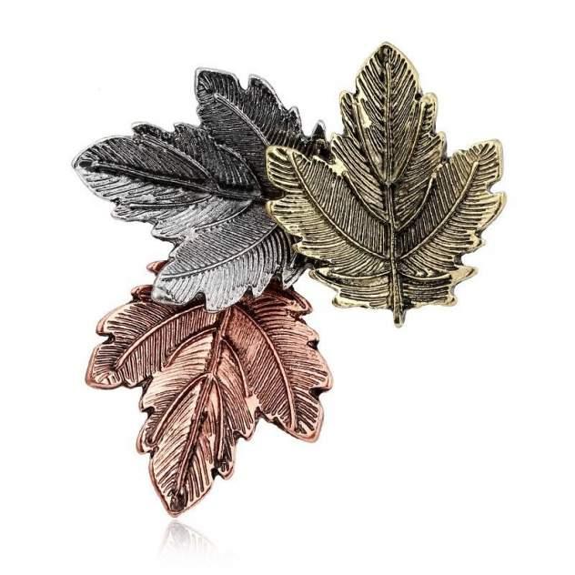 Брошь женская Blucome Кленовые листья бронзовая