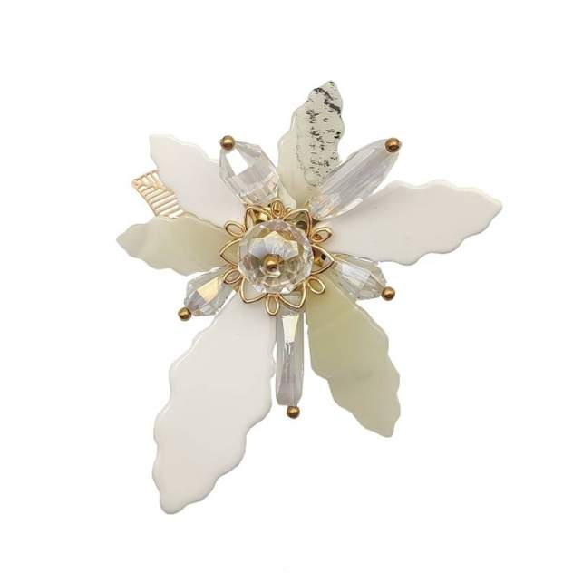 Брошь женская Fashion Jewelry Цветок белая