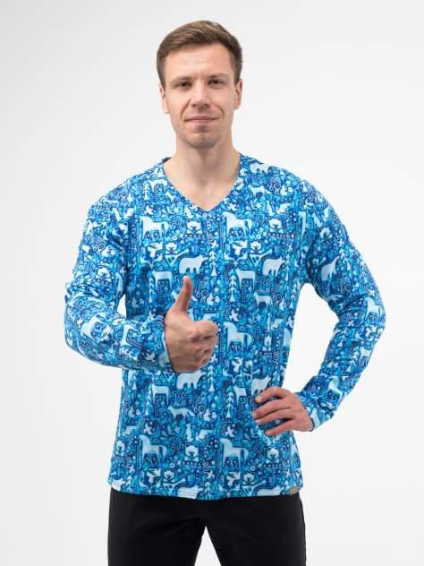 Лонгслив мужской Великоросс Русский лес синий 58 RU