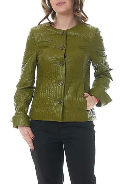 Кожаная куртка женская MANNON KC000002AW4(LORA) зеленая 50