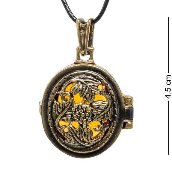 """Подвеска Art East """"Медальон Лоза"""" AM-1744 латунь, янтарь"""