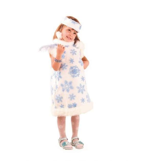 Карнавальный костюм Батик Снежинка белый/голубой р.116-122