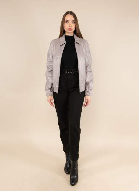 Кожаная куртка женская Каляев 158444 серая 44