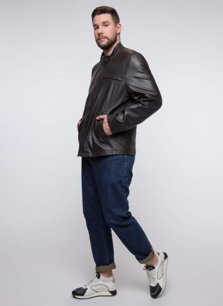 Кожаная куртка мужская Каляев 156099 коричневая 60