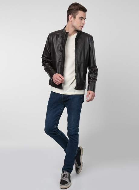 Кожаная куртка мужская Каляев 156098 коричневая 60