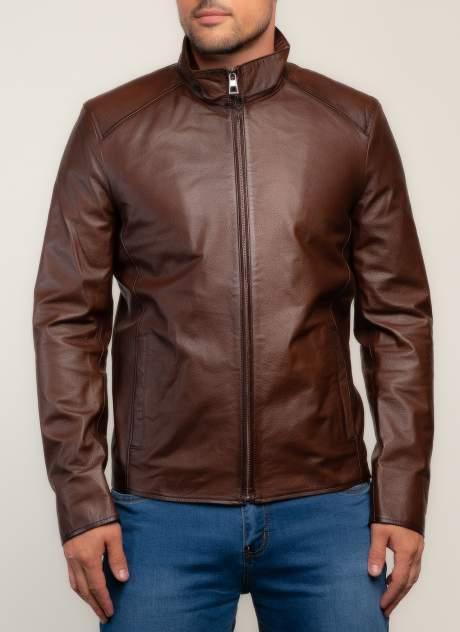 Кожаная куртка мужская Каляев 157548 коричневая 52