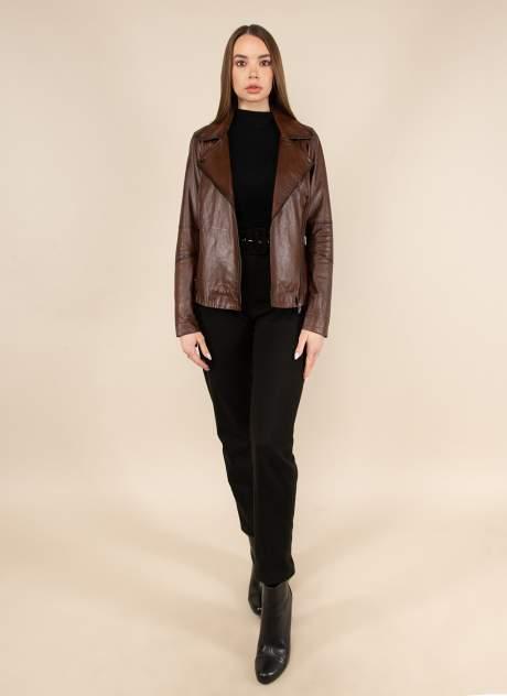 Кожаная куртка женская Каляев 158438 коричневая 50