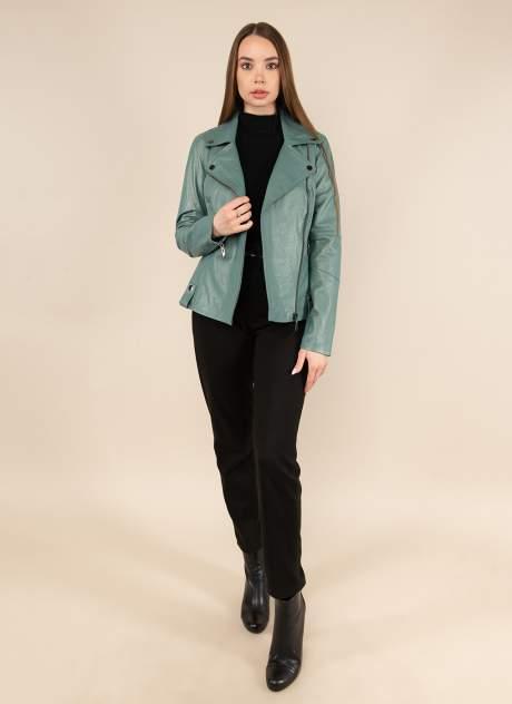 Кожаная куртка женская Каляев 158438 зеленая 46