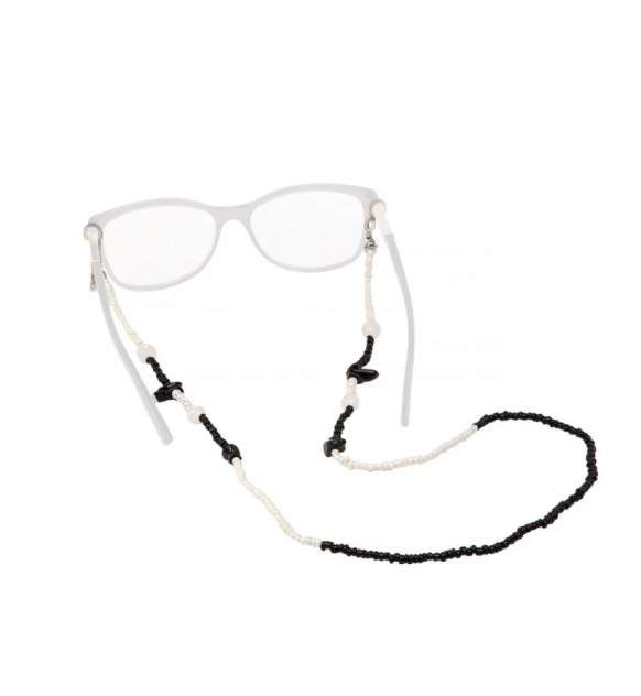 Цепочка для очков Daroni Beads White and Black черная/белая
