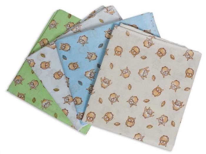 Пеленки ситцевые для новорожденных Сыночку. Совушки, 90х120 см, 4 штуки