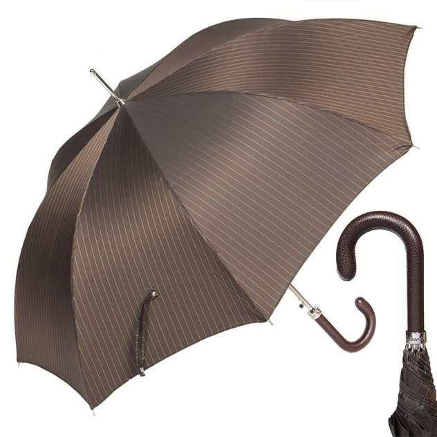 Зонт-трость мужской полуавтоматический Pasotti Classic Pelle StripesS Morrone коричневый