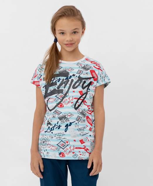 Футболка для девочек Button Blue, цв. белый, р-р 146