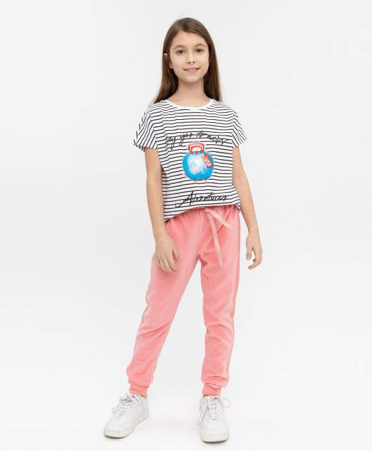Футболка для девочек Button Blue, цв. белый, р-р 110