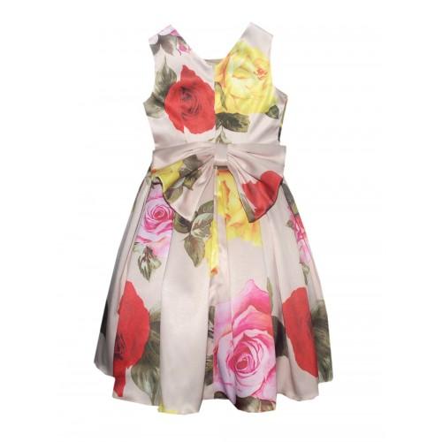 Платье нарядное Bon&Bon бежевое с цветами, р. 122