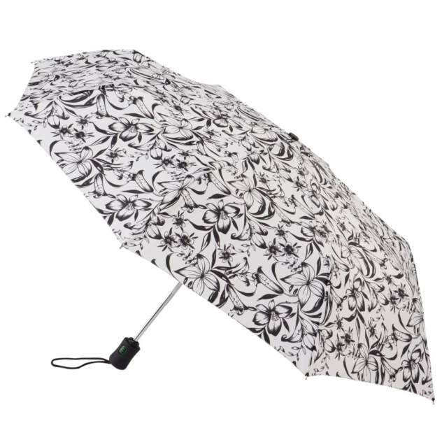 Зонт складной женский автоматический Fulton J346-2298 черный/белый