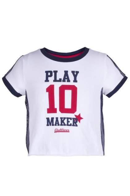 Футболка для девочки Gulliver, цв.белый, р-р 104