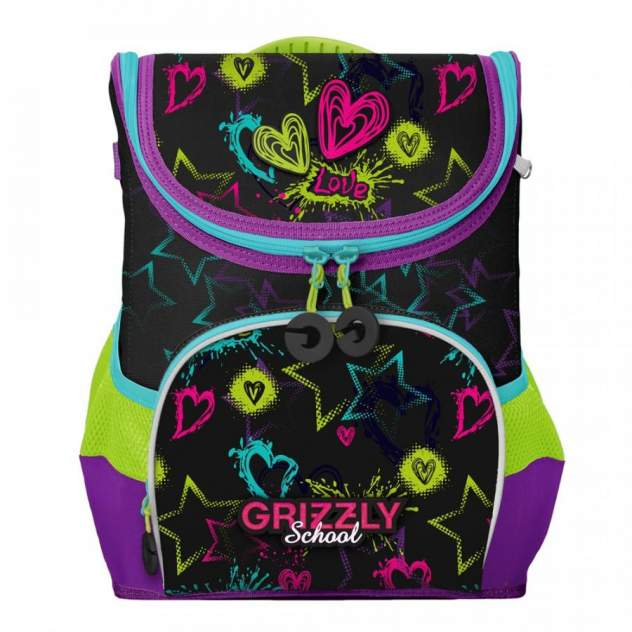 Школьный ранец Grizzly для девочки, черный/фиолетовый
