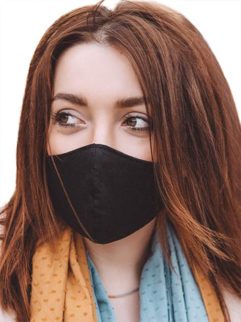 Многоразовая защитная маска в индивидуальной упаковке Мир масок черная 1 шт. L