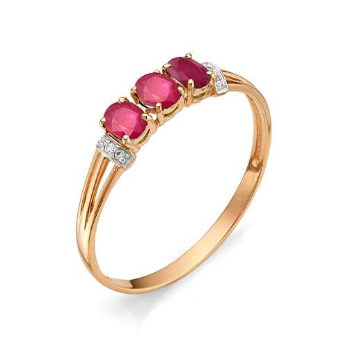 Кольцо из красного золота с рубином и бриллиантом р. 18.5 АЛЬКОР 11263-103